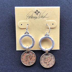 Nash Two Tone World Coin Hoop Drop Earrings